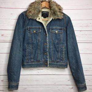 Stussy sherpa lined denim trucker jacket